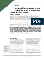 CRM Scorecard-based Management System Performance Evaluation Banks