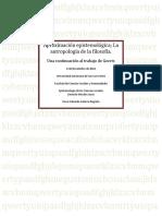 Aproximación Epsitemologica Reflexiones Antropológicas de Temas Filosóficos