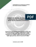Normativo General de Evaluacion y Promocion Del Estudiante Ccee USAC