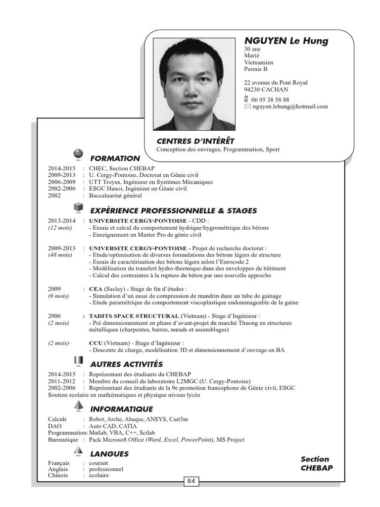 CV Ingenieur Genie Civil   Science et technologie ...