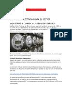 Las Tarifas Eléctricas Para El Sector Industrial y Comercial Suben en Febrero