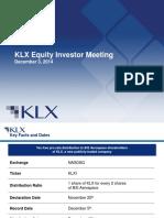 KLX Equity Investor Presentation VF