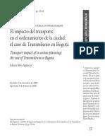 Impacto Del Transporte en El Ordenamiento de La Ciudad