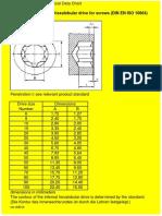Internal Dimensions of Hexalobular Screws (DIN en ISO 10664)