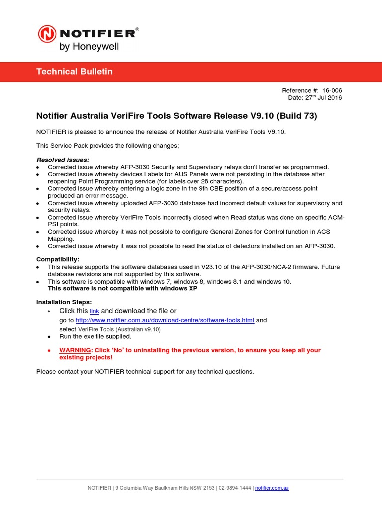 TB16-006 (NTF AUS VeriFire Tools Software