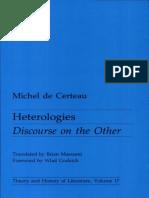 CERTEAU, Michel de. Heterologies (Inglês)