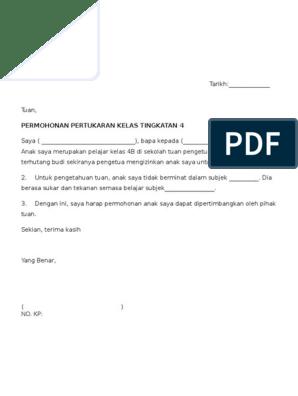 Contoh Surat Rasmi Permohonan Pertukaran Kelas