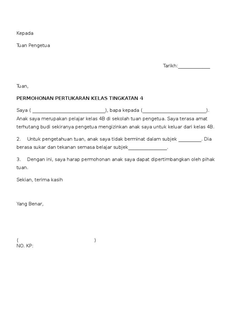 Contoh Surat Pertukaran Kelas