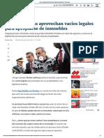Redes Mafiosas Aprovechan Vacíos Legales Para Apropiarse de Inmuebles