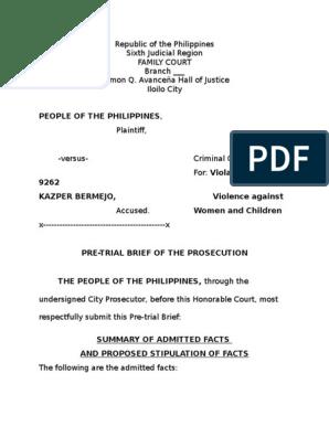 VAWC Pretrial Brief | Prosecutor | Criminal Justice