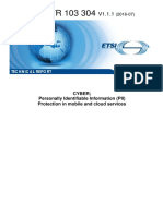 ETSI TR 103 304 Personally Identifiable Information (PII) - Protection in Mobile and Cloud Services
