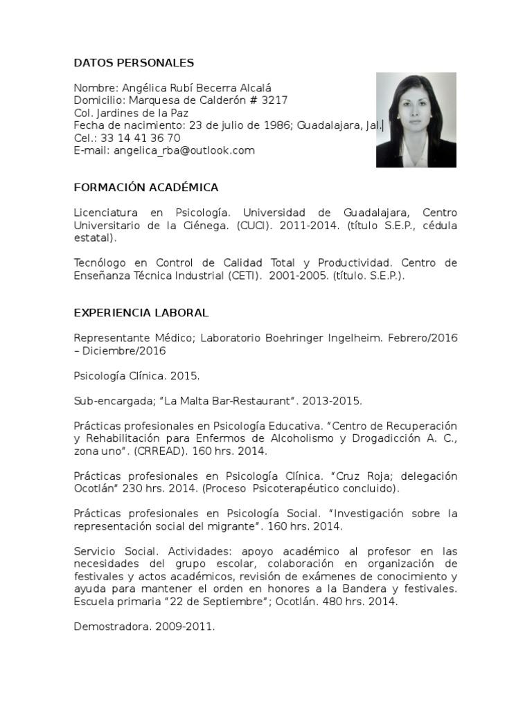 Excelente Muestra De Curriculum Interno De Psicología Ornamento ...