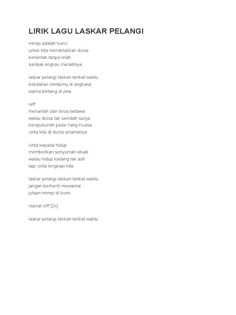 Lirik Lagu Laskar Pelangi