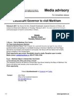 Lieutenant Governor to Visit Markham
