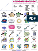 Kitchen Utensils Esl Vocabulary Matching Exercise Worksheet