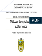 1.2 Métodos de Explotación Subterráneos