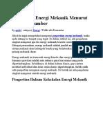 Pengertian Energi Mekanik Menurut Berbagai Sumber