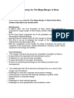 Case Study Summary for the Mega Merger of Sime Darby Bhd