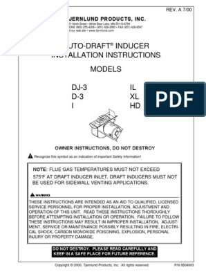 Tjernlund 950-4020 Motor Kit for IL Draft Inducer