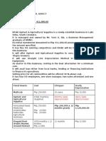 Financial Aspect of Agrivet Supplies in Lake Sebu, South Cotabato