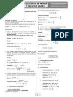 Ecuaciones de Primer y Segundo Grado