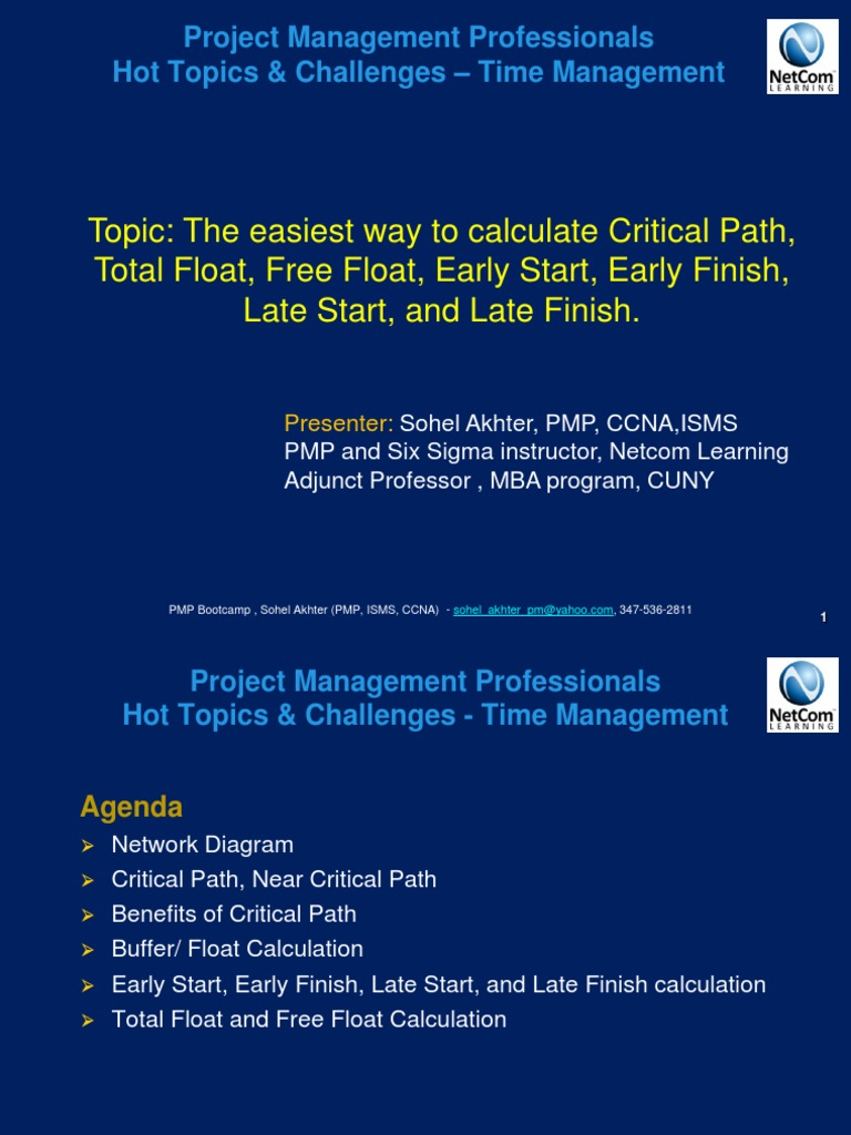 Webinar Presentation PMP - Time Management | Systems Science