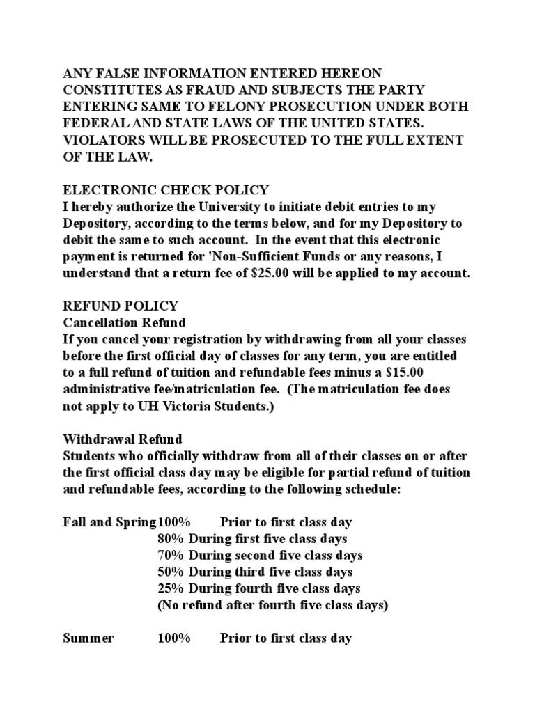 Refund Policy University