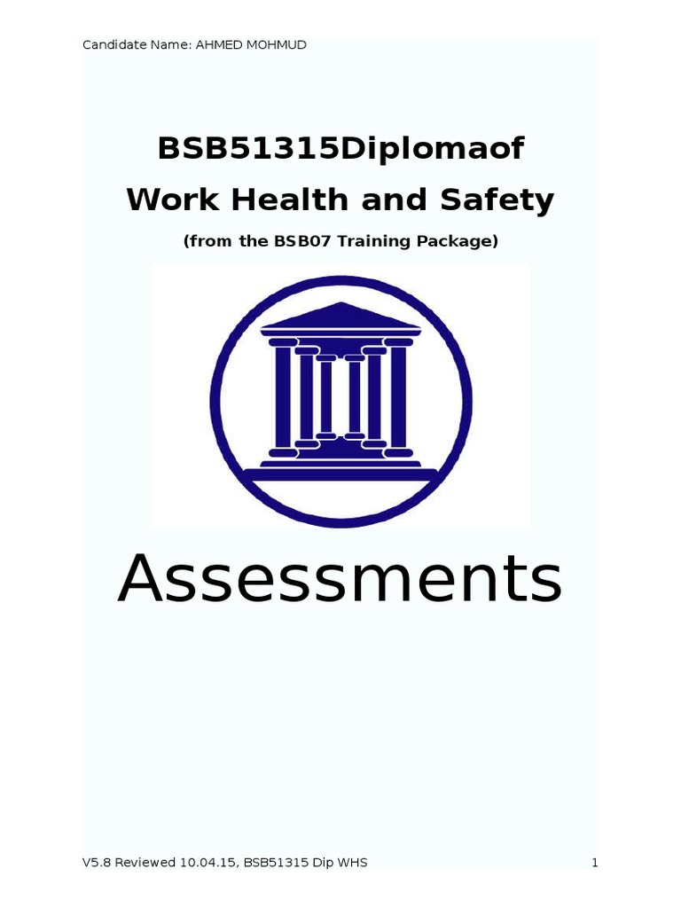 Dip Whs Online Assessment Updated Occupational Safety And Health