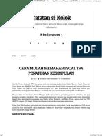 CARA MUDAH MEMAHAMI SOAL TPA PENARIKAN KESIMPULAN ~ Catatan si Kolok