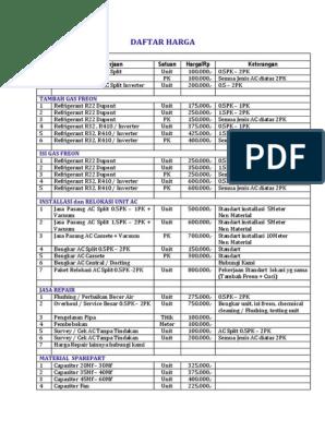 Daftar Harga Service Ac 2016pdf