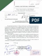Adresa Curţii de Conturi a României din 10 Noiembrie 2015 trimisă SRI