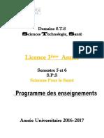 Livret 3 éme Année Sciences Pour la Santé S5 et S6