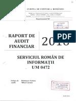 Raport Audit Financiar 2015 al Curţii de Conturi pe bugetul de 1,5 miliarde lei al SRI din 2015