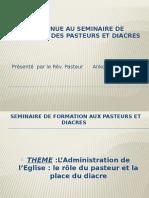 Bienvenue Au Seminaire de Formation Aux Pasteurs Et diacre