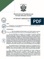 Resolución N°026-2017-SINEACE-CDAH-P