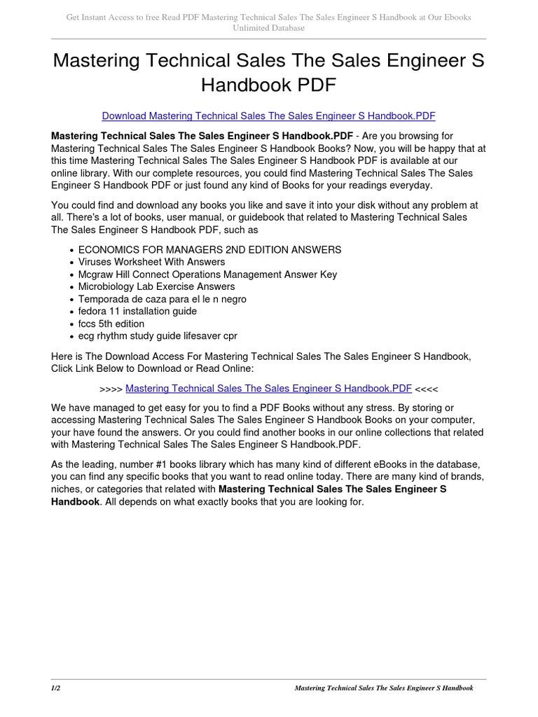 Uncategorized Language Handbook Worksheets Answer Key Online mastering technical sales the engineer s handbook1 e books portable document format