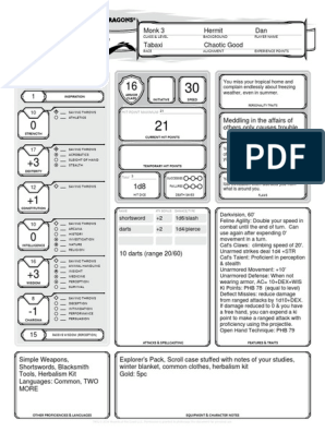 Character Sheet - Alternative - Tabaxi Monk | Gaming | Role