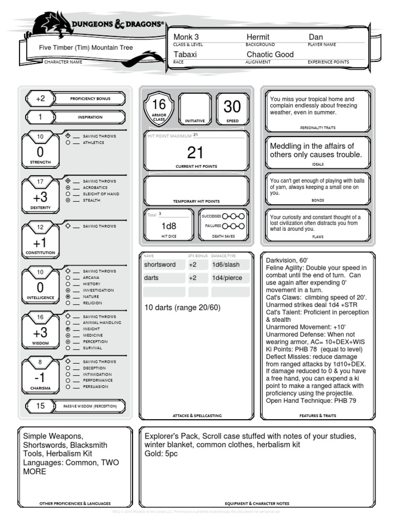 Character Sheet Alternative Tabaxi Monk Role Playing Games Role Playing Martial arts die + choice of strength or dexterity with choice of bludgeoning or slashing damage. character sheet alternative tabaxi