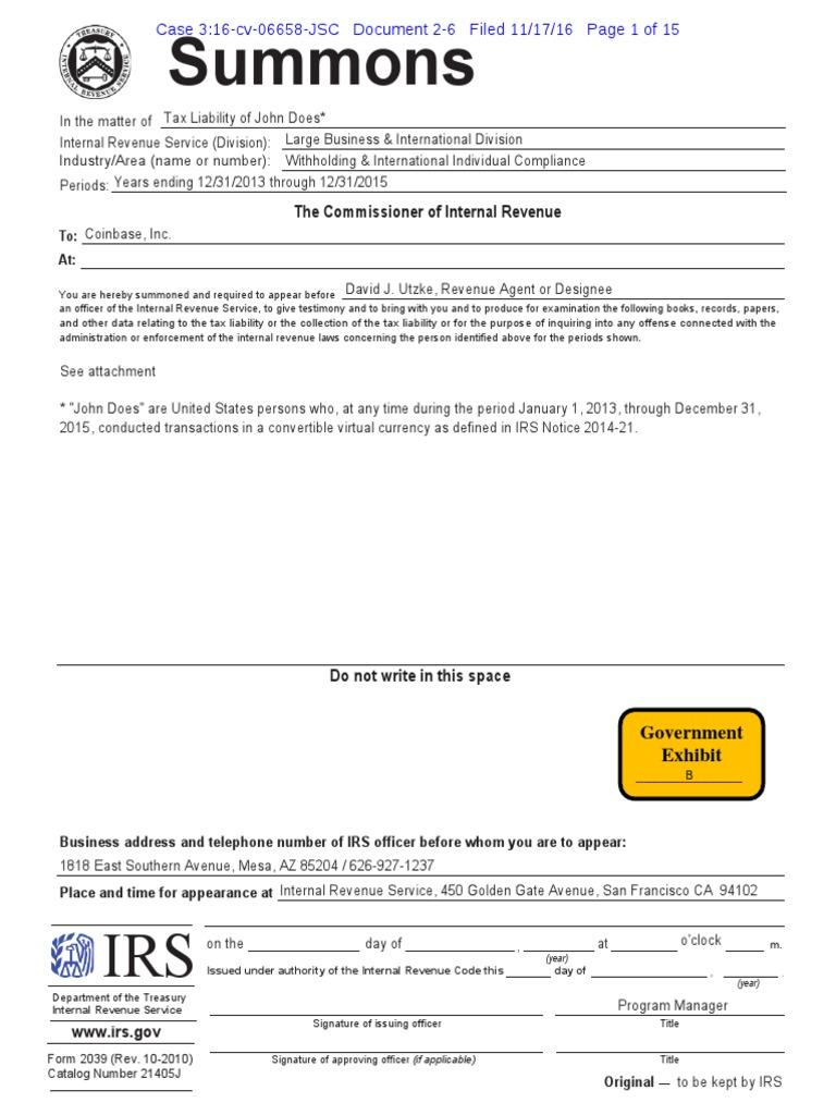 Irs John Doe Summons Summons Internal Revenue Service
