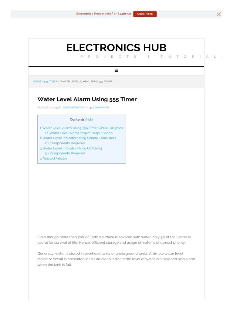 Electronicshub Electronic Circuits Electronics Timer Alarm Circuit Using Ic555 Projects