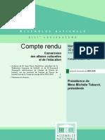 Assemblee Nationale - Compte Rendu Commission Affaires Culturelles - Escalettes Domenech c0910055