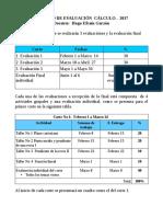 Cálculo Proceso de Evaluación