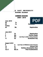 Academic Calendar - Summer 2010