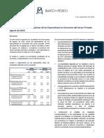Encuesta Sobre Las Expectativas de Los Especialistas en Econom a Del Sector Privado Agosto 2016