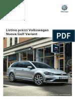 Listino Prezzi Volkswagen Golf Variant 2017