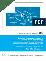 Absorbed Dose Determination in External Beam Radiotherapy(Penentuan Dosis Diserap Dalam Berkas Radioterapi Eksternal)