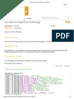 Formats for DateTime