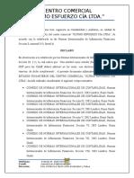 Notas Aclaratorias Ultimo Esfuerzo Cía Ltda