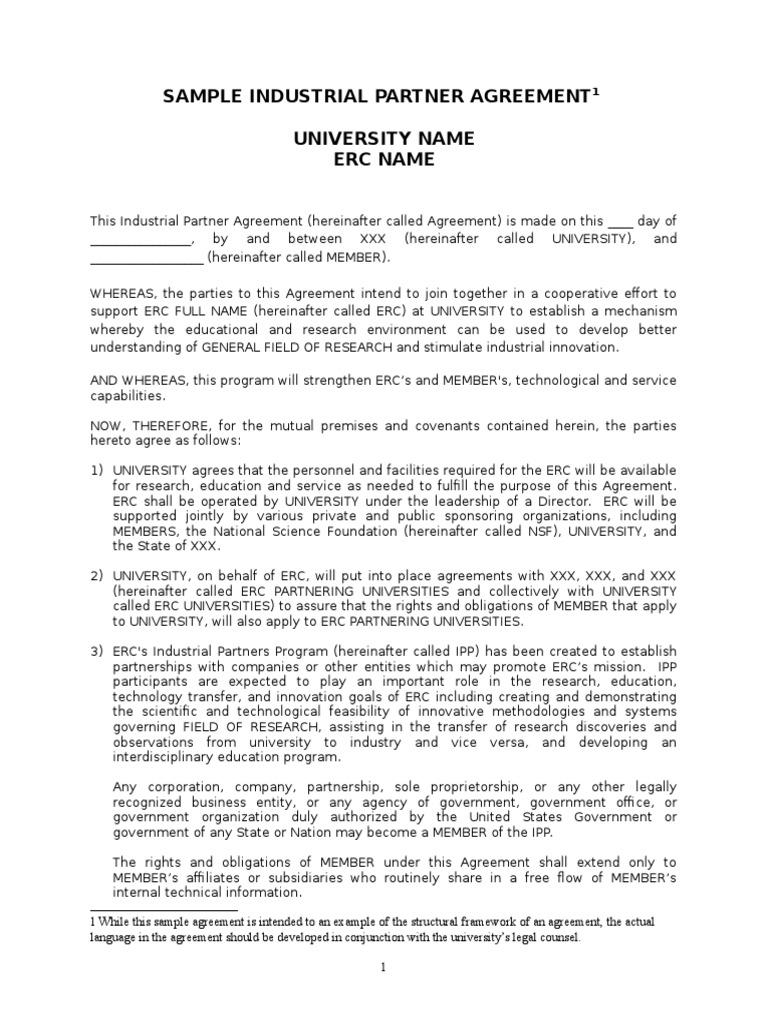 Erc sample agreement template 10 31 11 patent copyright platinumwayz