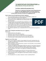 ETE Recommendation Letters Guidelines